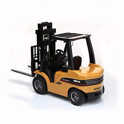 AKLUH Juguetes Color Forklift,Duty Fork Lift, Carretilla Elevadora Radiocontrol,RC Vehículo,RC Camion Electrico Modelo De Control, 2.4G 8CH
