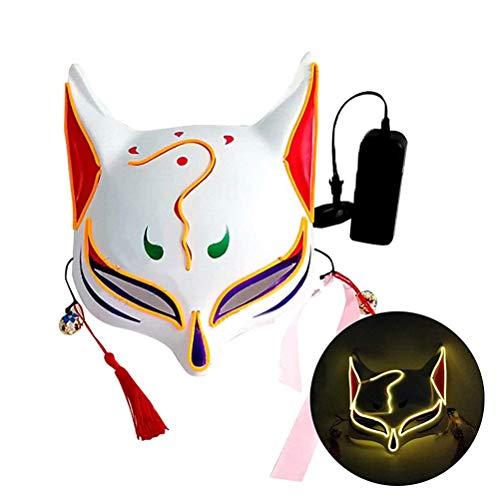 Kylewo Gloeiende Fox Drift Masker, Vos Masker Half Gezicht Bedekt 3D Masker Vos Gezichtsmasker met kwastjes Klokken voor Party Cosplay Halloween Kostuum Props