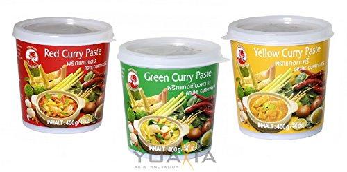 3x 400g COCK 3 verschiedene Curry Paste je 1x 400g Rote, Gelbe, Grüne Currypaste