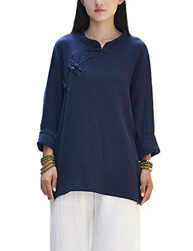 Idopy Camisa del botón de la Rana del Cuello del mandarín del algodón de Lino Tradicional Chino de Las Mujeres
