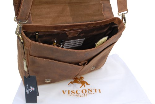 VISCONTI - Briefcase Messenger Bag A4 - Hunter Leather- Hardwearing/Shoulder/Cross Body/Laptop Compatible/Notebook/iPad/Business/Office/Work Bag -18716- Berlin - Oil Tan