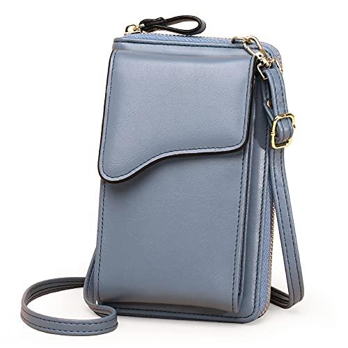 Maymooner Bolso de cuero de la PU de las mujeres del bolso del teléfono celular Crossbody de la tarjeta de crédito de la cartera ajustable del bolso pequeño, color Azul, talla Talla única