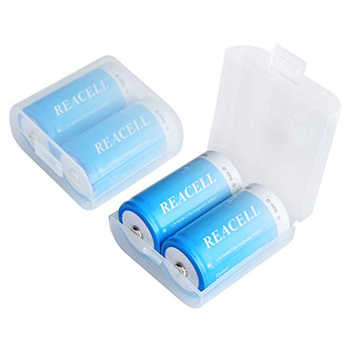 REACELL Mono D Akku Wiederaufladbar Batterien 4 Stück, 10000mAh NiMH 1,2V D Aufladbare Akkubatterien mit geringer Selbstentladung & Aufbewahrungsboxen