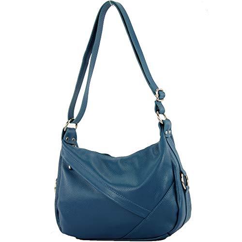 modamoda de - épaule ital/sac à bandoulière en cuir T164, Couleur:Bleu pétrole