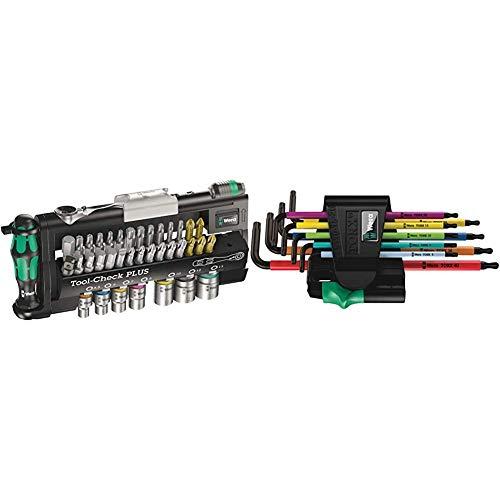 Wera Bit-Sortiment, Tool-Check PLUS, 39-teilig, 05056490001 & Winkelschlüsselsatz 967 SPKL/9 TORX® BO Multicolour, BlackLaser, 9-teilig, 05073599001