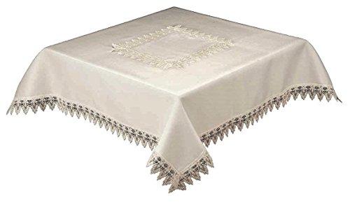 36pollice quadrato tovaglia con pizzo bianco bordo e centro Panal 54470, Easy Care (Bianco)