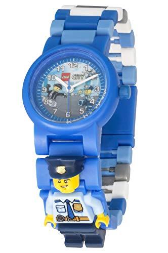 Armbanduhr Lego City - Police Officer, inklusive 12 zusätzlichen Armbandgliedern, Lego Minifigur im Armband integriert, analoges Ziffernblatt, kratzfestes Acrylglas