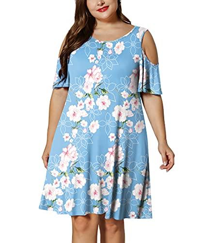 LONGYUAN Women Summer XL-6XL Cold Shoulder Plus Size Beach Dress with Pockets XXL,Fl Light Blue