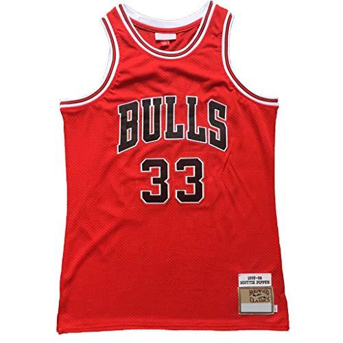 YHIU Herren Basketball Fan Trikot Chicago Bulls Scottie Pippen 33 # Vintage Red Swingman Edition Mesh Jersey, Material, farbe, Größe S