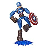 Avengers Marvel Bend and Flex Action Figure Toy, 6-Inch Flexible Captain America Figure, Includes Blast Accessory, for Kids Ages 4 and Up
