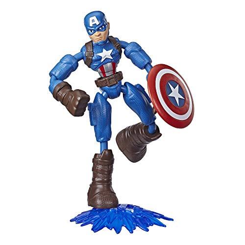 Hasbro Marvel Avengers Bend und Flex Action-Figur, 15 cm große Biegbare Captain America Figur, enthält ein Effekt-Accessoire, für Kinder ab 6 Jahren