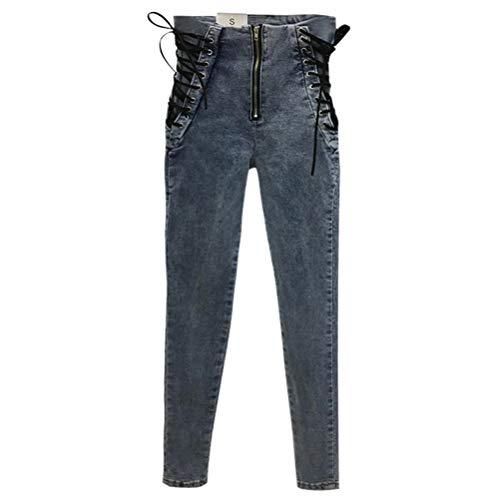 YSSGTT Vrouwen Enkel Lengte Broek Lace Up Bowknot Slim Pencil Broek Stijlvolle Jeans
