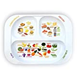 Kid's Healthy Learning Plate | Divided Portion Control for Toddlers & Children | Learn Nutrition & Food Groups | Colourful Sections for Fussy Eaters | Child-Friendly Melamine, Dishwasher-Safe