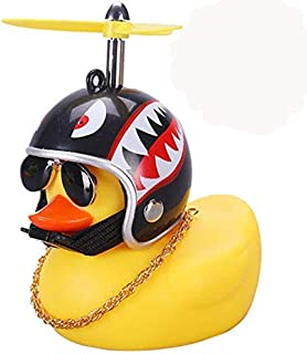 DYBADYSA 1 Pcs Cute Rubber Duck Toy Car Ornaments Yellow Duck Car Dashboard Decorations with Take-Copter Helmet for Adult...