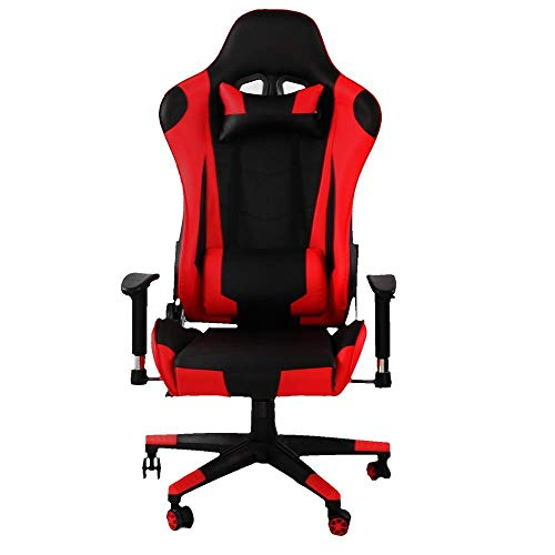 Game Chair/Office Computer Chair, Swivel, Ergonomic backrest, Height Adjustable seat, with headrest and Lumbar Pillow Professional Computer Game Chair (Colore : Rosso)