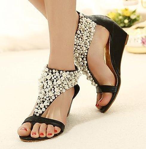 ZHUDJ Sandales Wedge Wedge Wedge Sandals Creux Herringbone Mot Angle Chaussures  meilleure mode