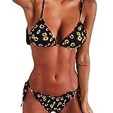 CheChury Costume da Bagno Donna Due Pezzi Stampa a Girasole Bikini Set Push-Up Imbottito da Bagno Sexy Coordinati da Bikini Triangolo Swimwear