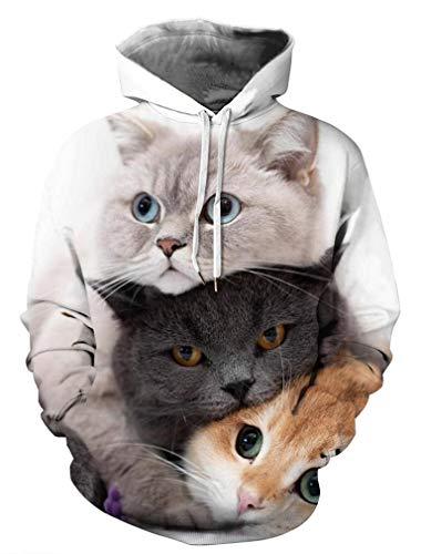 Socluer Sweat-Shirt à Capuche 3D Animaux Imprimé Mignon Femme Pull Sportif Unisexe Drôle Cosplay...
