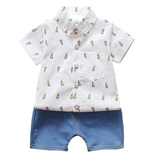 LENGIMA 2Pcs Kleinkind Jungen Outfit Set Kurzarm Hemd und Shorts Set (Color : White Fire Arrow, Size : 110)