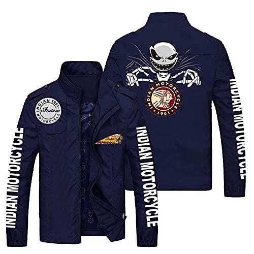 Chaquetas para Hombres Chaqueta Al Aire Libre - Cráneo Impresión Casual Coat Ocio Soporte Cuello Chaquetas Zipetos Lightweight Earkets - Adolescentes Regalos Navy Blue-4XL