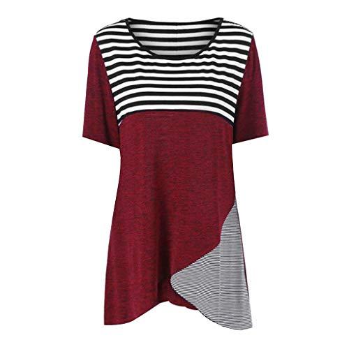 TWIFER Damen Asymmetrisch Gestreifte Nähende Kurzarm-Beiläufige T-Shirt Bluse