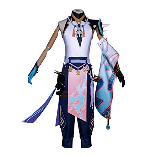 Gettesy Cosplay Kostüm, Genshin Impact XIAO Cosplay Outfit Cosplay Kostüm Set mit Maske