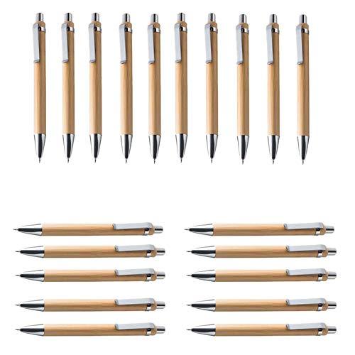 Jcevium - Set di 30 penne a sfera in legno di bambù