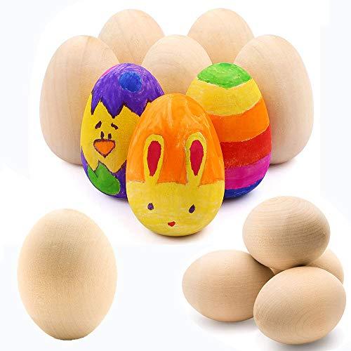 Ostereier Holz Set, 12 Stück Hölzerne Eier zum Bemalen Deko, DIY Hölzerne Eier für DIY Ostern Handwerk und Ostern Korb Stuffers,für Kunsthandwerk Malen Hängend