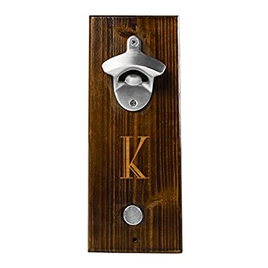 Cathy's Concepts Personalized Rustic Wall Mount Bottle Opener with Magnetic Cap Catcher, Letter K