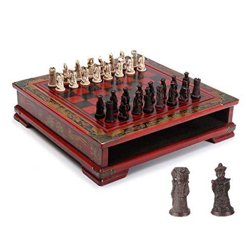 Ajedrez de viaje Guerreros juego de ajedrez for niños y adultos la familia del ajedrez clásico juego de mesa plegable con tablero de madera 3D Resina Pedazos de ajedrez y almacenamiento ranuras Juego