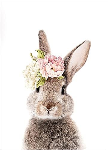 QIUSHUAI Póster de Lienzo Animal-Bunny, Conejito de jardín de Infantes, Arte de Pared Impreso, Pintura, Imagen, decoración de Dormitorio para niños, decoración del hogar del bebé Sin Marcos 60X80cm