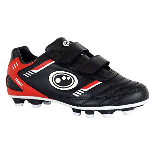 Optimum Jungen Tribal-Velcro Moulded Stud Fußballschuhe, Noir (Black/Red), 31 EU
