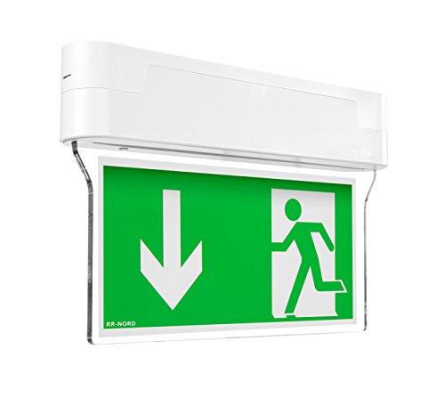 Notleuchte LED IP44 Decke Wand Notbeleuchtung Rettungszeichenleuchte Fluchtwegleuchte Notlicht Brandschutzzeichen Rettungszeichen (Pfeil nach rechts oben) (Peil nach links und rechts (beidseitig))