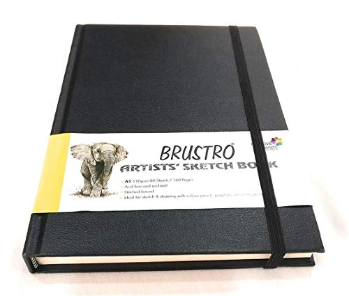 Brustro Artists Stitched Bound Sketch Book, A5 Size, 160 Pages, 110 GSM (Acid Free)