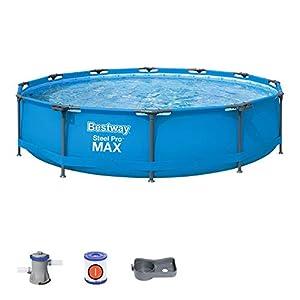 Bestway 56416 – Steel Pro Max – Piscina exterior redonda, 366 x 76 cm, bomba de filtrado incluida