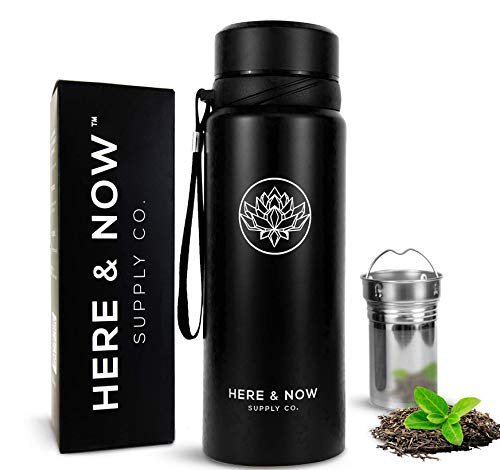 25 oz Multi-Function Travel Mug and Tumbler | Tea Infuser Water Bottle | Fruit Infused Flask | Hot & Cold Double Wall Stainless Steel Coffee Thermos | by Here & Now Supply Co. (Zen Black)