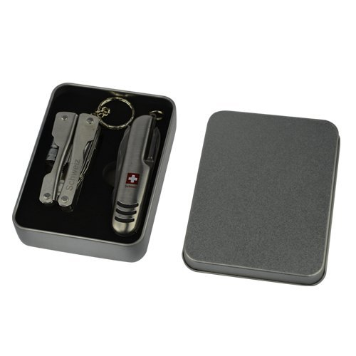 Couteau de poche & Multi outil avec logo Suisse Boîte en métal