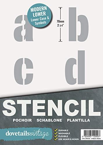 Sténcil Plantillas de Letras Alfabeto / simbolos - 7 cm de alto - 6 hojas de 295 x 200MM - Moderno en minúsculas