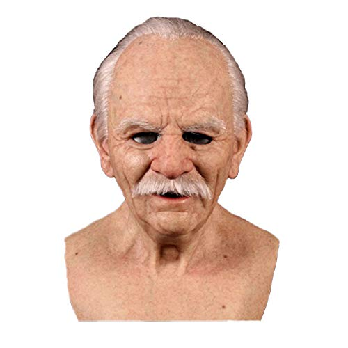 MSGJIAJU The Elder Old Man Kopfbedeckung, Creepy Old Man Kopfbedeckung, Latex Realistic Male Head Masken Menschliches Aussehen Halloween Cosplay Kostüme, Another Me C