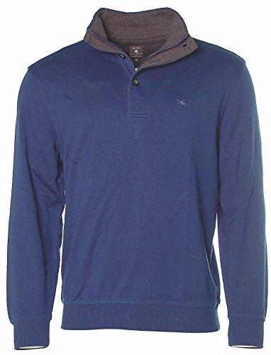 Kitaro Herren Langarm Troyer Sweatshirt Sweater Cobalt Blue M