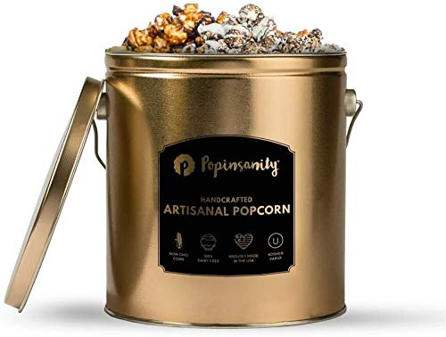 Popinsanity Gourmet Popcorn Deluxe Multi Flavor Popcorn Tin - Cookies & Cream | Caramel Chocolate Drizzle - Non-GMO & Dairy Free - Holiday, Anniversary, Get Well, Corporate or Birthday Gift - 1 Gallon