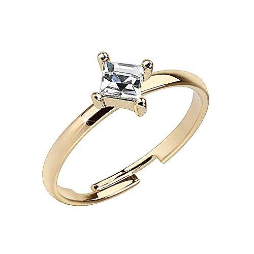 Piersando Zehenring & Fingerring verstellbar Gold plattiert Kristall Quadrat