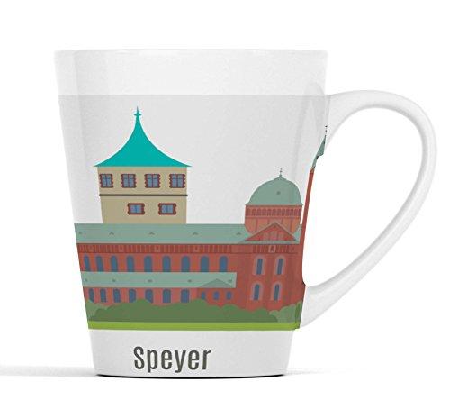 Speyer Stadt Silhouette |Latte Macchiato Becher Kaffeebecher mit Fotodruck |001