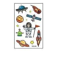 子供のためのスペースタトゥー、子供の男の子女の子の誕生日パーティーの好意のための宇宙船の太陽系宇宙飛行士の宇宙での10枚宇宙一時的なステッカー,Wsa188