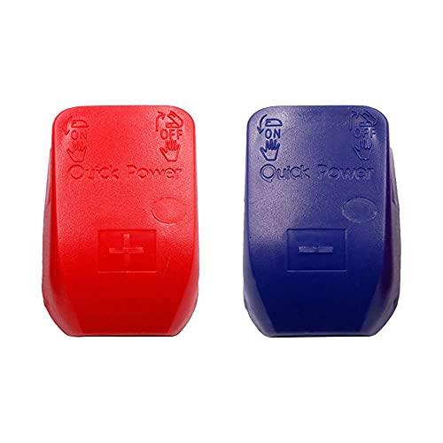 Lecimo Coche Barco Batería Terminal Conector Abrazadera Clip Negativo Positivo Azul Rojo Cubierta