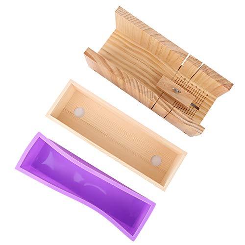 Molde de silicona antiadherente jabón de mano-1200ml Caja de madera con ranura de corte de escala