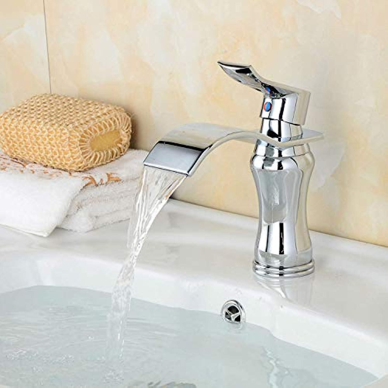 FERZA Home Waschbecken-Mischbatterie Badezimmer-Küche-Becken-Hahn auslaufsicher Speichern Sie Wasser Messing Chrom warmes und kaltes Wasser Mischsilber überzogene Flle