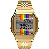 Timex T80 34mm Watch – Gold-Tone with Pride Ranbow & Stainless Steel Bracelet