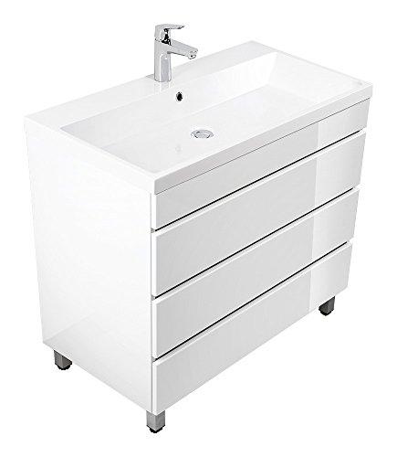 Waschplatz Stand Standmöbel inkl. Mineralguss-Waschbecken in Hochgl. weiß ideal für Gäste-WC (breite 90 cm)