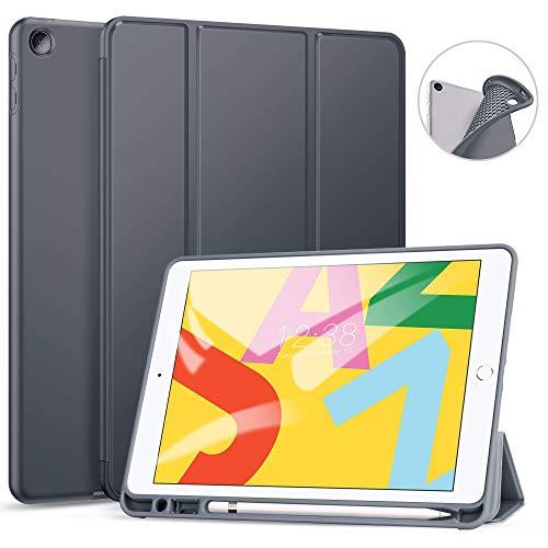 Ztotops Hülle für iPad 10.2 2019(7/8th Gen),Superdünne Soft TPU Rückseite Abdeckung Schutzhülle mit eingebautem iPad Stifthalter,Automatischem Schlaf/Aufwach, für 10,2